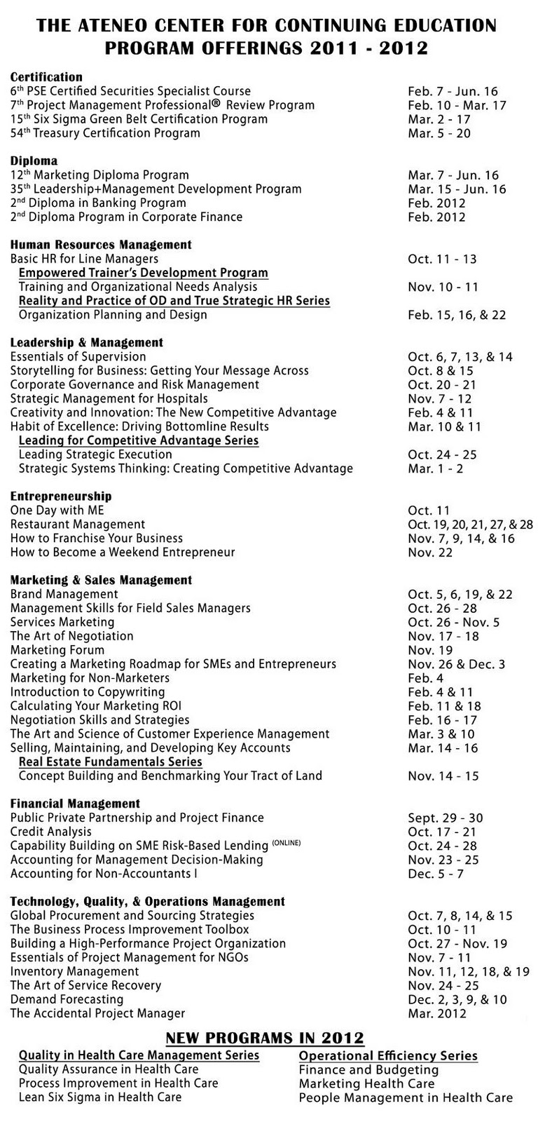 Ateneo Center For Continuing Education Program Offerings 2011 2012